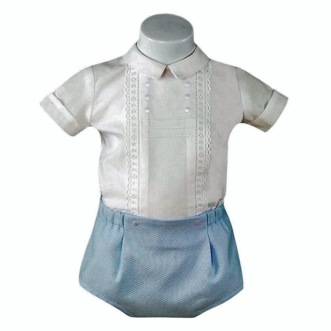 Conjunto bebé Miranda ref. 23/0032/23 Blusa blanca y pantalón celeste